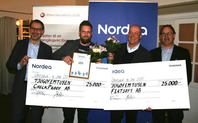 Fertsoft och CheckProof vann Nordeas resestipendium 2017. Från vänster: Johan Cederholm, Nordea, Jonas Pålgård, CheckProof, Martin Björkman, Fertsoft, och Per Svensson, Nordea.